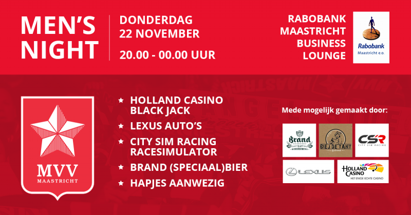 Vanaf 20 00 Uur Zijn Al Onze Partners Welkom Voor De Men S Night In Rabobank Maastricht Businesslounge