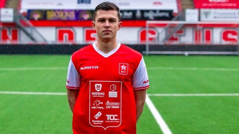 Rico Zeegers in De Geusselt in zijn nieuwe MVV-tenue.